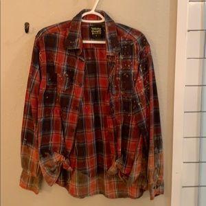 Whiskey Wrangler Plaid Splatter Bleached Flannel